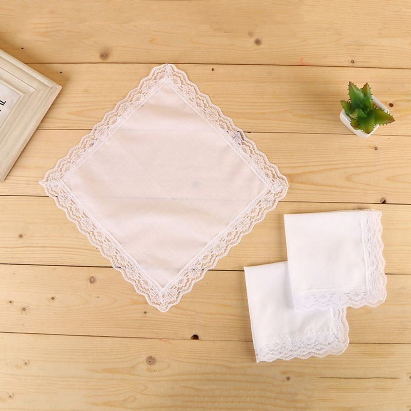 25x25cm Ladies Plain White Floral Lace Trim Cotton Handkerchiefs Bridal Wedding Square Napkin Gift DIY Print Draw Pocket Hankies