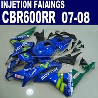 Injection body fairings kits for Honda 600 RR F5 fairing set 07 08 CBR 600RR CBR 600 RR 2007 2008 blue movistar motorcycle parts