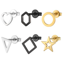 Korean stainless steel earrings round studs gold fashion black simple star for women jewelry accessories