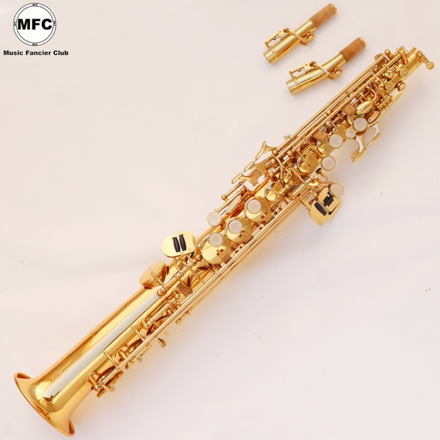 US $261 0 10% OFF|Free Shipping DHL Brand New MFC Straight Soprano  Saxophone Mouthpiece Professional Gold Lacquered With Case Sax-in Saxophone  from