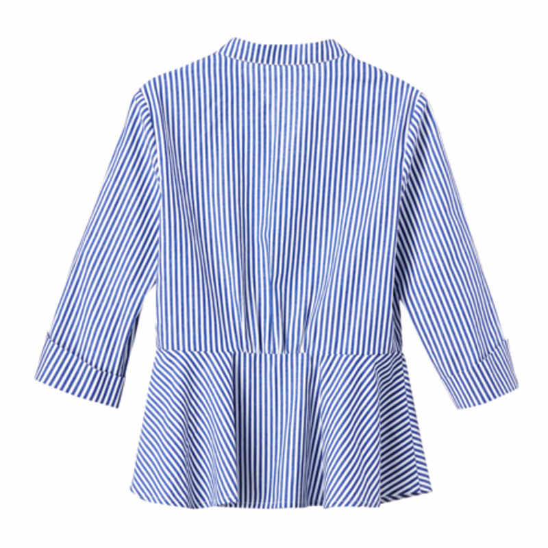 Blue And White Striped Shirt Women 2019 Summer Fashion Peter Pan Collar Blouse Short Sleeve Buttons Cotton Tops And Blouses