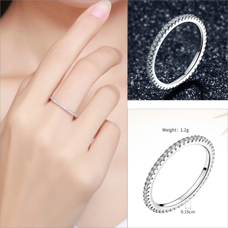 925 Sterling Silber Ringe für Frauen Zirkon 925 Silber Einfache - Modeschmuck - Foto 2
