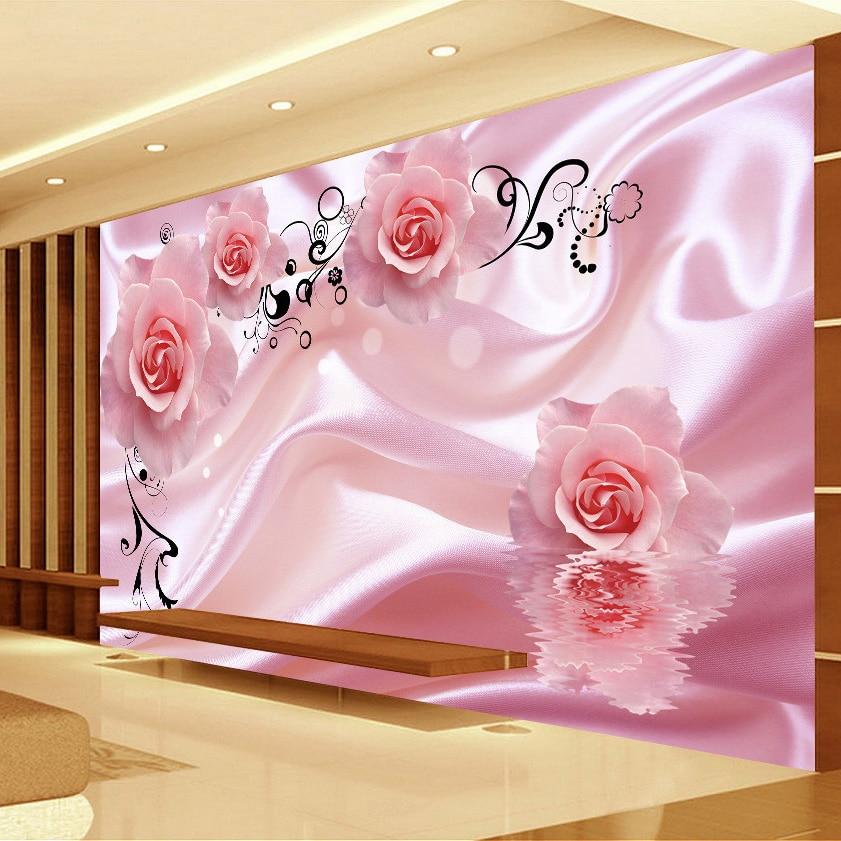 3d romantic rose flower vine art silk wall painting for 3d rose wallpaper for bedroom