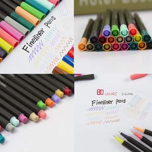 Image 4 - Acquerello Marcatori Fineliner Penna di Colore Set 80 Colori 0.4 millimetri Disegno Schizzo Penne Poroso Fine Point Colorazione Marker per Larte supporto