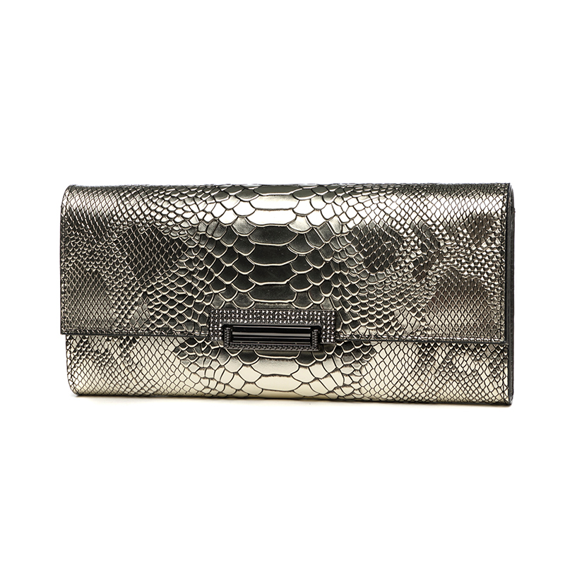 Women Genuine Leather Long Clutch Wallet Hand Bag Banquet Party Shoulder Bag Lady Handbag Celebrity Serpentine Purse Card Golden women genuine leather envelope bag large capacity lady day clutch hand bag wristlet banquet chain messenger shoulder bag handbag
