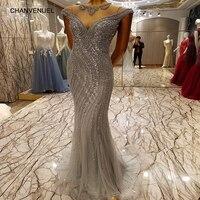 LS7335 Ballkleider Grey Long Evening Party Dress For Graduation O Neck Prom Dress Backless Sparkle Mermaid