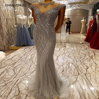 LS7335 Ballkleider Grey Long Evening Party Dress For Graduation O Neck Prom Dress Backless Sparkle Mermaid