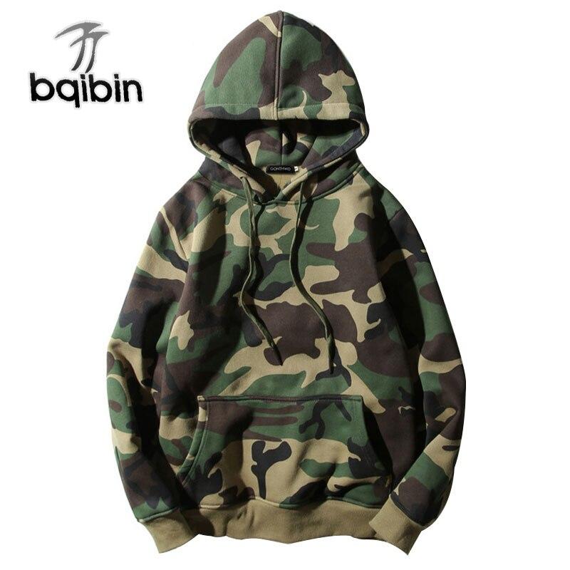 Army Green Camouflage Hoodies 2018 Inverno Mens Camo Fleece Pullover Felpe Con Cappuccio Hip Hop Refurtiva Streetwear Cotone