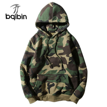 Army Green Camouflage Hoodies 2019 Winter Mens Camo Fleece Pullover Hooded Sweatshirts Hip Hop Swag Cotton Streetwear