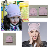 Han Woman Knitted Baby Hat Wool Cotton Cuff Beanie Hat Ski Cap Spring Autumn Girls Hats for Women Sock Caps Stocking Hat Cat