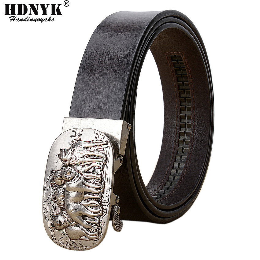 New Brand Designer Belts For Men High Quality Automatic Belt Men Leather Girdle Casual Waist Strap With Wolf Heah Buckle