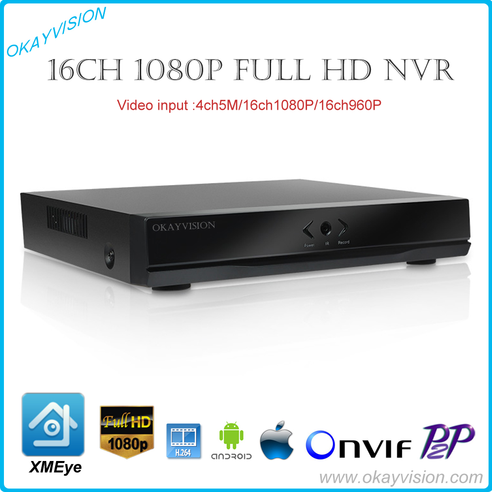 FULL HD 16 Channel 1080P CCTV NVR 16CH 2MP 4CH 5MP NVR 1 SATA HDD XMEYE ONVIF P2P HDMI VGA CCTV Video Recorder Support 6TB HDD support onvif 9ch 1 5u nvr 1080p hd with vga