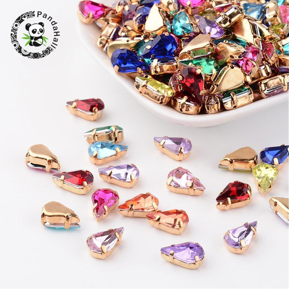 Mixed Color Drop Acrylic Rhinestone Montee Beads with Brass Findings Golden Metal Color,13x8x5.5mm, Hole: 1mm,about 1000pcs 1000pcs 1 4w metal film resistors 750kohm 1