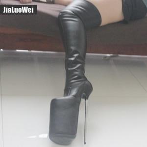 Image 5 - Jialuowei النساء مثير صنم الرقص ملهى ليلي الأحذية 30 سنتيمتر المتطرفة عالية الكعب المعادن الكعوب منصة سستة فوق الركبة الفخذ أحذية عالية