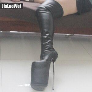 Image 5 - Jialuowei נשים סקסי פטיש ריקוד מועדון לילה מגפי 30CM עקב גבוה אקסטרים מתכת עקבים פלטפורמת רוכסן מעל הברך ירך גבוהה מגפיים