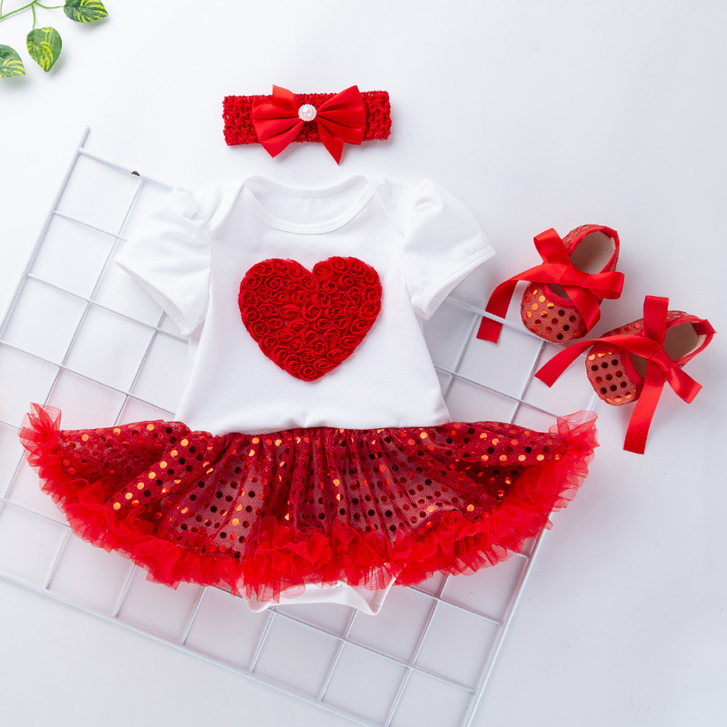 <font><b>3</b></font> PCS Toddler <font><b>Baby</b></font> <font><b>Girls</b></font> Short Sleeve Paillette Heart <font><b>Dress</b></font> +Shoes Outfits Set <font><b>Girls</b></font> <font><b>Dress</b></font> 1 To 2 <font><b>Years</b></font> Deguisement Enfant Fille image