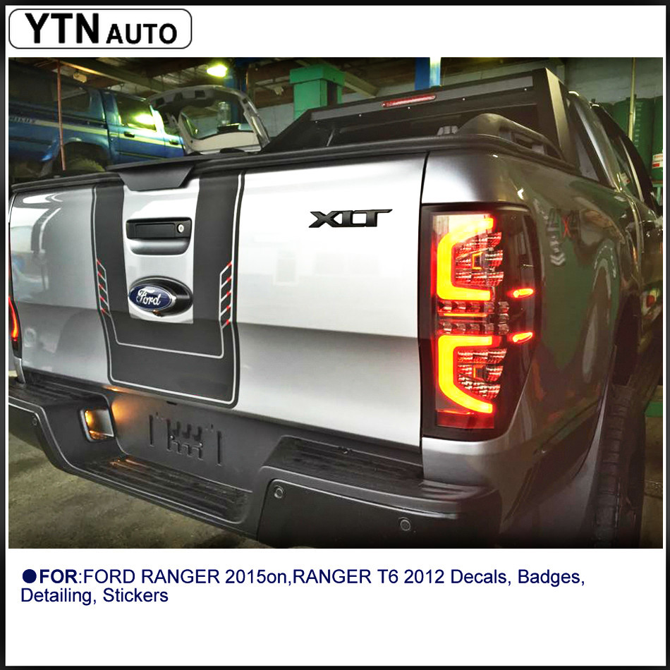 Custom For Ford Ranger Stickers 1Piece PICKUP Car Two-tone Back Door Insert Graphic Vinyls Accessories Modified Decorate Decals