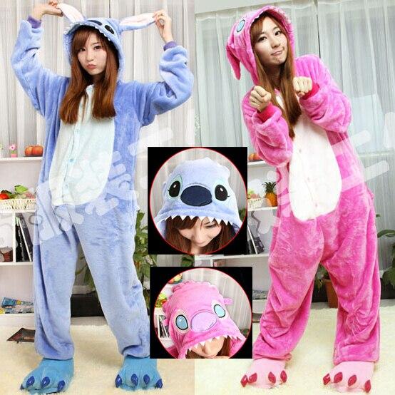 Hot Sale! New Year Kawaii Anime kigurumi Animal Blue Pink Cosplay Costume Adult Stitch Onesie Lilo And Stitch Pajamas