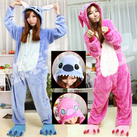 Hot Sale! New Year Kawaii Anime kigurumi Animal Blue Pink Cosplay Costume Adult Stitch Onesie Lilo And Stitch Pajamas
