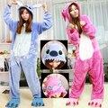 Venda quente! Ano novo Kawaii Anime Animal Azul Ponto Rosa Cosplay Traje Adulto Onesie Lilo E Stitch Pijama