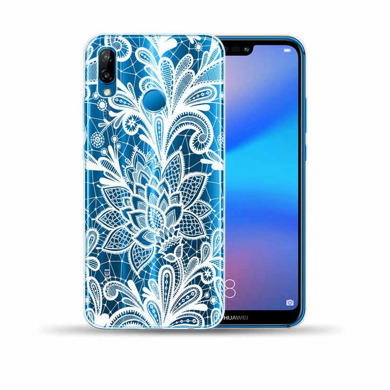 ลูกไม้ดอกไม้นุ่ม TPU Cover สำหรับ Huawei P8 P9 P10 P20 Lite P30 Lite Pro Mandala กรณีดอกไม้สำหรับ Capa huawei Mate 10 20 Lite Pro