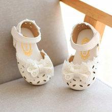ea6734fb1 (سفينة من US) طفل الرضع الاطفال طفل الفتيات أنيقة Bowknot زهرة الأميرة  أحذية الصنادل للفتيات الصيف أحذية الاطفال القوس صندل 2019