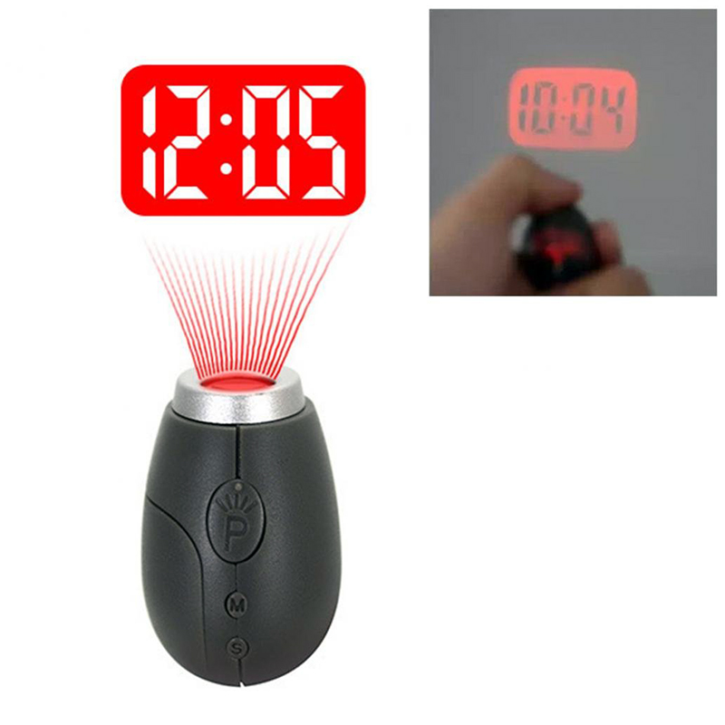 Portable Projection Clock Night Light Creative Digital Time LED Flashlight Torch Lamp With Keychain Nightlight For Emergency