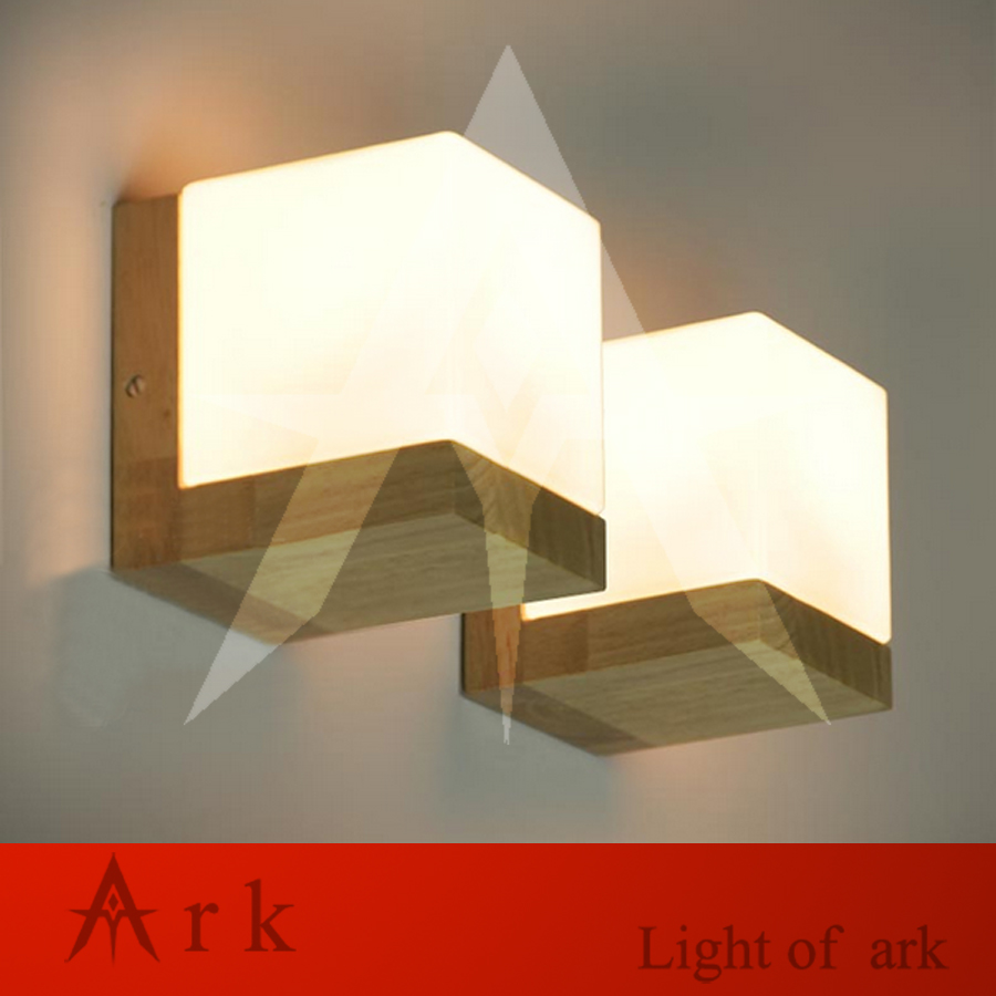 Modern Oak Wood Cube Sugar Shade Wall Lamps Bedroom Bedside Wall Light  Bathroom Light Wall Sconces Lotus Wall Light Fixtures In Wall Lamps From  Lights ...