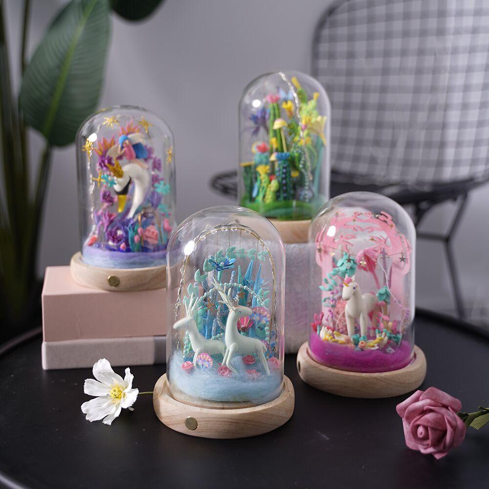 Robotime 4 sortes pâte à modeler avec Led et boîte en verre coloré polymère créatif argile pour travaux pratiques jouet créatif cadeau pour enfants adulte DC - 3