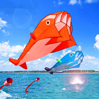 free shipping large soft kite dolphin kite outdoor flying toys ripstop nylon fabric cerf volant poisson single line kite power 30m beach kite flying single line octopus kite tube shaped soft kite 3d ripstop nylon fabric
