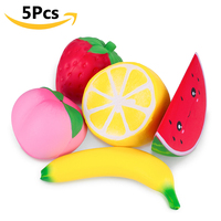 Jumbo Squeeze Toys Fruit Mix Package 5Pcs/Lot Scented Squishy Simulation Food Lovely Gadgets PU Foam Relax Emotion Hand Pillow