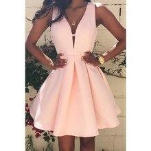 2018 Summer Sexy Women Dress Deep V-Neck Backless Sleeveless Pink Dresses