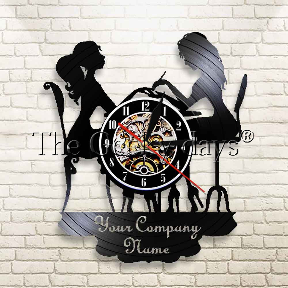 Customized Wall Watch Salon Reloj Pared With Your Company Name Logo Duvar Saati Vinyl Record Black Wall Clock Beauty Shop Decor