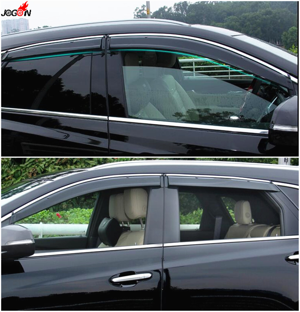 4pcs/set Smoke Sun Rain Visor Vent Window Deflector Shield Guard Shade For Cadillac XT5 2016 2017 side window sun shield visors vent rain wind deflector guard fit for honda civic 2012