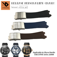 26mm Silicone Rubber Watchband New Steel Folding Buckle Watch Strap Special for Ulysse Nardin Executive 243 Watch Accessories