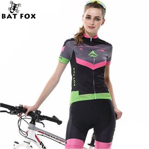 ФОТО BATFOX Women Cycling Short Jersey Set Fahion Design MTB Wicking Clothes Ciclismo Ropa Ciclismo MTB Bike Bicycle Short Jersey Set