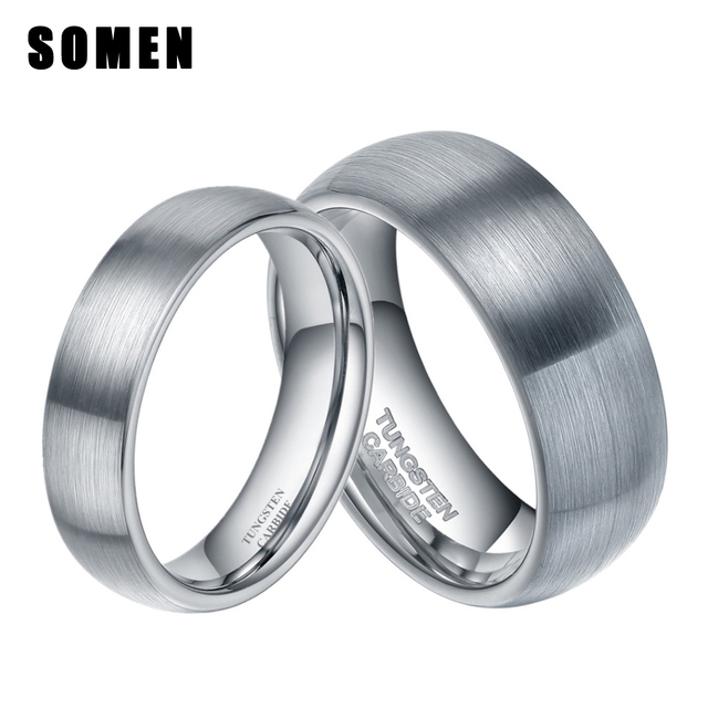 6mm 8mm Silver Brushed Dome Tungsten Carbide Wedding Ring Korean