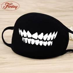 Модная черная хлопковая маска унисекс с мультяшным рисунком для лица, с милым 3D-принтом, с половинным ртом, муфельные маски для лица