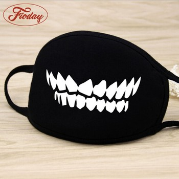 Fashion Unisex Cartoon Pattern Black Cotton Face Mask Cute 3D Print Half Face Mouth Muffle Masks Outdoor Cycling Mask A12D15
