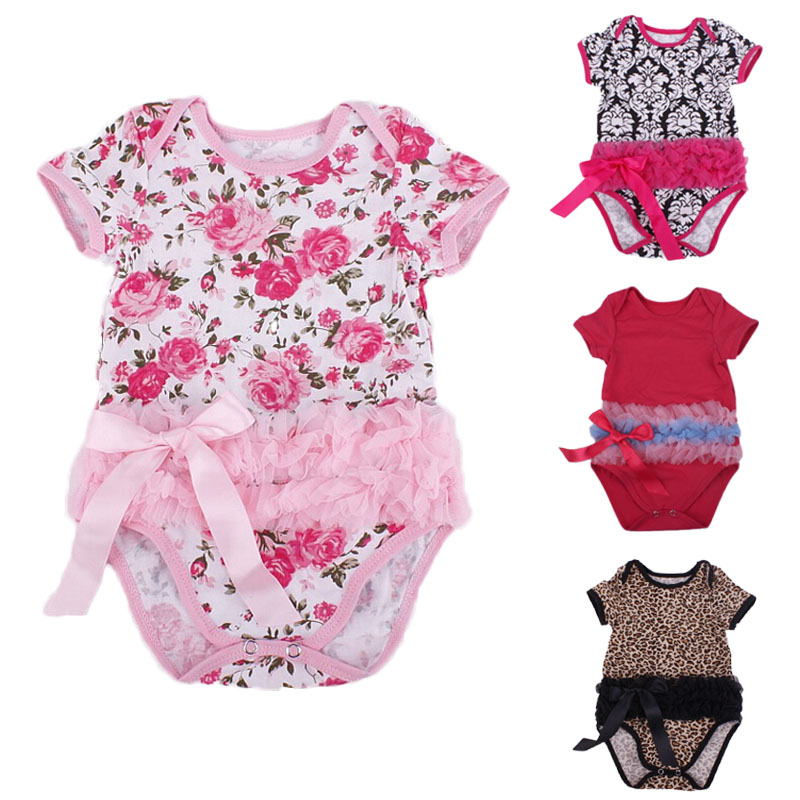 New arrive Baby Girls Chic Lacy Rompers Floral Dotted Leopard Bebe Toddler Short Sleeve Jumpersuits Lace Waisted Infant Clothing