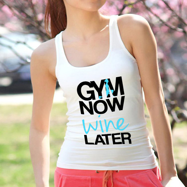 Lei SAGLY GYM NOW WINE LATER Funny Women Summer Camisole Tank Top Female Sleeveless Sports Vest Women Streetwear Clothes