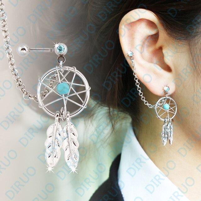 Dream Catcher Helix Earring New Arrival Fashion Girl's Body Jewelry Dream Catcher Star Helix 20