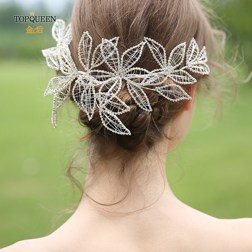 TOPQUEEN Bridal Hair Tiara Silver Diamond Chain Bridal Headwear Wedding Hair Jewelry  Wedding Party Headband Bridal Crown HP256