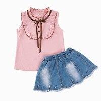 Sweet Kids Set Baby Summer Clothes Shirt Denim Skirt Suit Children Clothing Infantil Vetement Enfant Fille