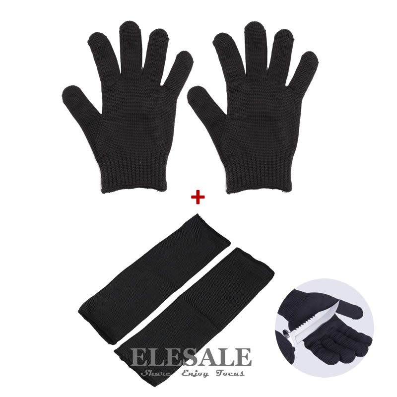 1 Set Cut-Resistant Working Safety Gloves And Arm Sleeves Anti-Cut Protective Stainless Steel Wire For Butcher Builder Gardener 2017new style 316l anti cut gloves with stainless steel safety protective gloves with a anti cut hppe gloves 2 pairs