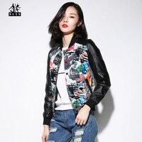 2015 New Women Leather Jacket Black Stamp High Quality Genuine Sheepskin Short Slim Fit Lady Winter