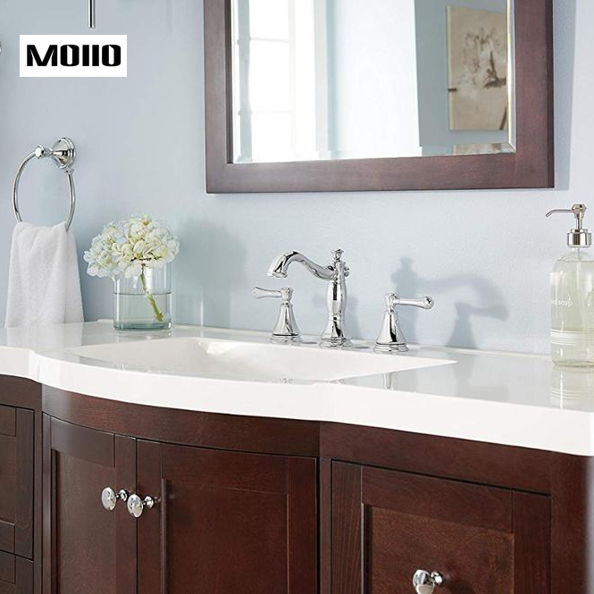 MOIIO Bathroom Sink Faucet 2 Handle Widespread Bathroom Faucet Chrome Finished with Metal Drain Assembly Luxury Silver Faucet in Basin Faucets from Home Improvement