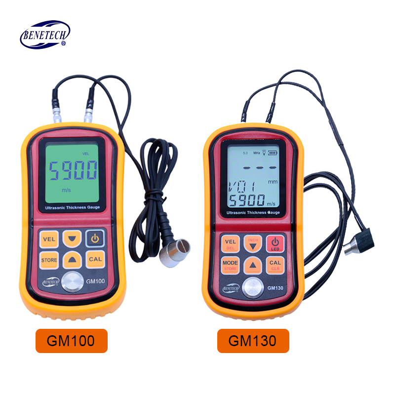 BENETECH Digital Ultrasonic Thickness Gauge tester GM100/GM130 handheld steel aluminium glass Sound Velocity Meter as850 handheld ultrasonic thickness gauge steel aluminium plate thickness meter for industrial measurements free shipping
