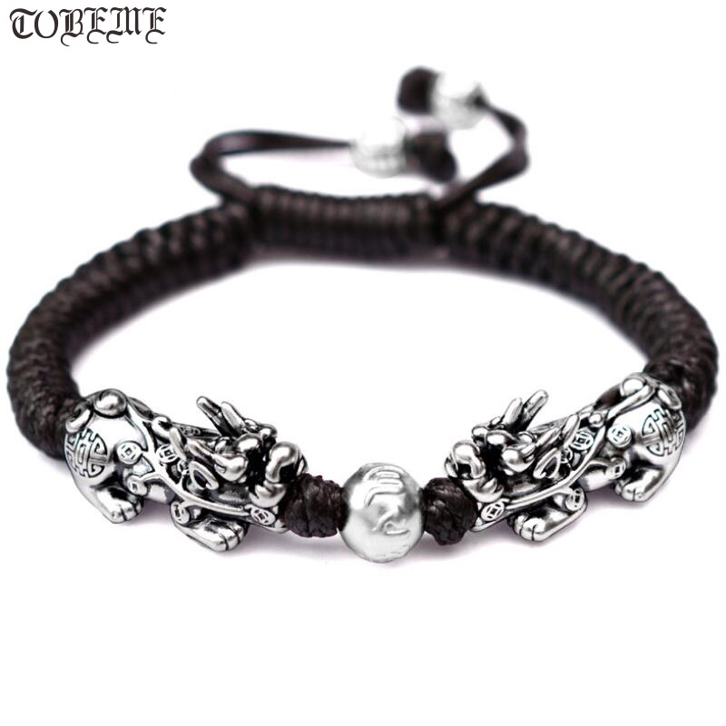 Handmade Good Luck Man Bracelet Fengshui Pixiu Bracelet 3D 999 Silver Wealth Pixiu Beaded Bracelet Man Gift-in Strand Bracelets from Jewelry & Accessories