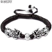 Handmade Good Luck Man Bracelet Fengshui Pixiu Bracelet 3D 999 Silver Wealth Pixiu Beaded Bracelet Man Gift